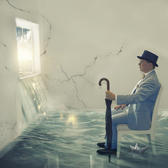 Hope and fear (MrJsBelieve) Tags: hope fear art fineart conceptual conceptualphotography water hat umbrellas hats