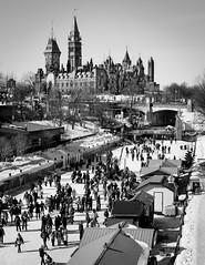 Off Season (Bert CR) Tags: ottawa winter bitterlycold parliamentbuildings capital blackandwhite blackwhite bw rideaucanal rideaucanalskateway skateway iceskating outdoorskating rideau offseason ottawawintertradition tradition worldslargestskatingrink canon40d