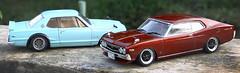 Nissan Laurel HT 2000 SGX (KHC130) and Skyline 2000 GTR (KPGC10) (vitaraman) Tags: aoshima nissan laurel butaketsu 2000sgx khc130 1975 japan skyline kpgc10 2000 gtr
