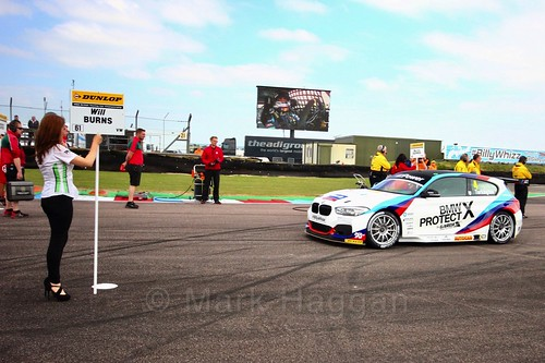 Colin Turkington on the grid before the first BTCC race of the weekend at Thruxton, May 2017