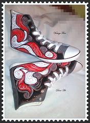 Great Painted Ladies Sneakers (art-store.net) Tags: womensshoes handpaintedtextilepaint originaldesign modernprint qualityworkmanship udobevmodel