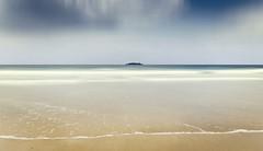Harlyn Bay 1 (Bruus UK) Tags: harlyn bay cornwall padstow camel trevose beach coast marine seascape rock deserted alone surf sea ocean atlantic waves clouds sky horizon minimal blur