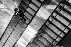 Metallic (Julien Rode) Tags: city escaliers métro nb paris personnage portfolio rue street urban ville