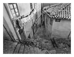 LA RIBEIRA  ( Oporto-Portugal ) (RAMUBA) Tags: oporto porto portugal la ribeira gaia escaleras stairs bw blanco y negro bike bicicleta