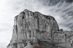 Guadalupe Peak & El Capitan (haal photography) Tags: guadalupenationalpark anseladams blackwhite guadalupepeak clouds rock hiking mountains peaks texas guadalupe contrast