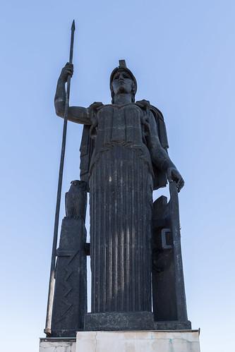 2016/08/14 18h40 statue d'Athéna (toit du Circulo de Bellas Artes)