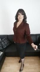 may 2017 - suited for dinner (cilii_77) Tags: cd tg tv crossdresser transgender transvestite skirt suit jacket pearls dinner elegant stockings high heels makeup nylon
