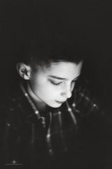 (Rebecca812) Tags: boy child contrast blackandwhite portrait childhood freckles plaid lookingdown timeless people
