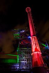 Landschaftspark Duisburg (Tobias Schulte) Tags: industry industrie nacht night dark dunkel led light lights licht lichter lapadu rust rost verlassen abandoned ruins ruinen chimney schornstein pipes rohre