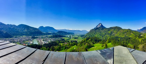Panorama view from Thierberg with river Inn and Kufstein and The Alps in Tyrol, Austria