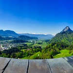 Panorama view from Thierberg with river Inn and Kufstein and The Alps in Tyrol, Austria thumbnail
