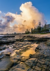 morning reflections at the beach (andrew.walker28) Tags: reflections rocks sand puddles rockpool clouds morning sunrise beach ocean seaside mooloolaba sunshine coast queensland australia