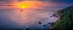 Panoramic view (EddieLin617) Tags: magic sunset cliff coastal ocean sea orange blue purple long exposure haven dramatic paradise 水 風景 海 天空