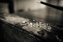 Incense Ashes (orkomedix) Tags: canon g9x macro ashes incense bw nik indoor