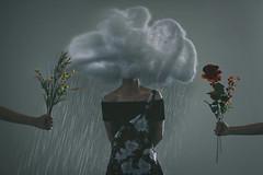 care (Jasmine LY.) Tags: cloud photography photoshop girl portrait flowers manipulation concept conceptual rain