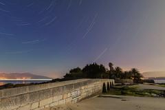 El puente al paraíso (Alberto Cachafeiro) Tags: aguieira isla puente nocturna startrails galicia costa mar mareabaja bajamar palmeras playa cielo noche