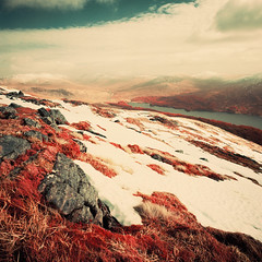 Loch Ossian from Beinn na Lap (Mark Rowell) Tags: infrared ir eir aerochrome lochoassian beinnnalap corrour scotland hasselblad 903 swc 6x6 120 mediumformat expired film