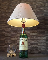 Jameson Irish Whiskey bottle lamp (Wattbottles) Tags: wattbottles jameson whiskey whisky bottle lamp steampunk decor boho home bar table desk accent floral lampshade gift present idea upcycle upcycled etsy lighting design interior