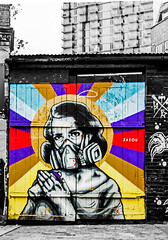gas mask domesticity contrasts (PDKImages) Tags: londonstreetart london shoreditch shoreditchstreetart graffiti art wallart contrasts streetscenes urbanart colours