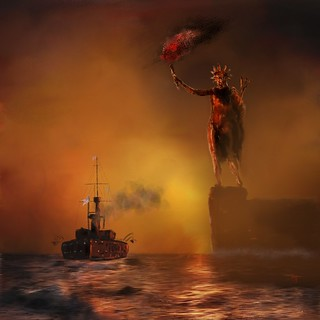 HMS Dreadnought Passing the Colossus of Rhodes
