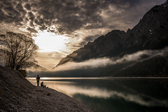 not alone (hjuengst) Tags: landschaftennatur plansee see austria tirol tyrol lake reflection fog foggy mist misty sunrise mountain backlight reutte breitenwang