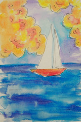 Sailboat #2 (BKHagar *Kim*) Tags: bkhagar art artwork painting paint watercolor sailboat boat sea ocean