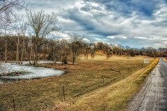 Irwin Bridge Road On A Winter's Day (myoldpostcards) Tags: rural country landscape hills trees atmosphere sky clouds irwinbridge road rd sangamoncounty centralillinois illinois il myoldpostcards randall randy vonliski winter spring canon eos 7dmarkii hdr