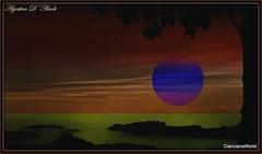 Tramonto con cielo Rosso e mare verde - Aprile-2017 (agostinodascoli) Tags: art digitalart creative cielo mare tramonto sunset alberi agostinodascoli nature texture paesaggi landscape pgotoshop photopainting