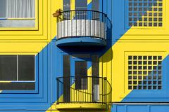 Balconies in blue and yellow (Jan van der Wolf) Tags: map15190ve yellow geel blue blauw balconies balkon hous apartmentbuilding huizen ramen windows colors amsterdam kleuren shadows lijnen lines heesterveld
