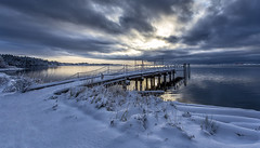 Winter Dock (Paul Rioux) Tags: britishcolumbia bc colwood royalroads esquimaltlagoon winter snow weather calm water seascape seashore clouds morning sunrise dawn cold dock wharf reflection prioux