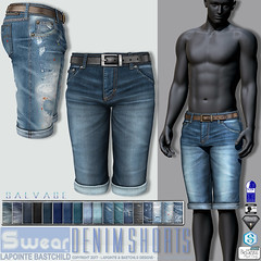 L&B : Salvage Denim Shorts - Updated with Jake sizing! (Lapointe & Bastchild) Tags: secondlife sl fashion clothing lapointebastchild lapointe bastchild lb swear aesthetic niramyth gianni signature slink physique meshclothing fitmesh fittedmesh men mens male denim jeans shorts cutoffs worn weathered dirty ripped patched faded rubbed destroyed dungaree summer