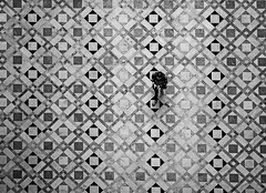 Human In Geometry (CoolMcFlash) Tags: bnw bw blackandwhite blackwhite person floor pattern geometry copyspace negativespace walking vienna streetphotography candid canon eos 60d high angle view perspective perspektive aerial sw schwarzweis boden muster geometrie texture textur gehen wien oben fotografie photography sigma 1020mm 35