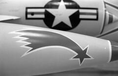 shooting star (bergytone) Tags: film bw blackandwhite olympus om2 om2n omseries aircraft museum kalamazoo michigan shootingstar jet usaf