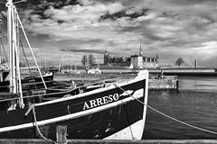Kronborg Slot (FTonyC) Tags: blackandwhite monochrome x100s ship kronborg slot helsingor denmark arreso fishingboat harbourside hamlet maritime castle elsino elsinore