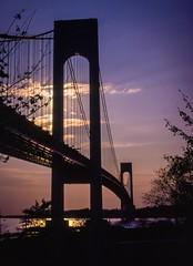 Verrezano 4 (eyzz) Tags: bridge brooklyn verrazanonarrows nikon sunset purple silhouette kodachrome newyork nikkormat