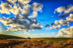 Big Sky, Little House (KPortin) Tags: abandonedhouse windmill clouds sunset lincolncounty easternwashington