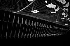 Overhanging eaves of the San-mon gate (Tigra K) Tags: beautiful kyoto kyotoprefecture japan jp 2012 architdetail lattice night repetition rhythm shape wood pattern monochrome