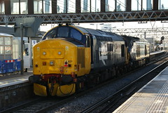 37424. (37558) 'Avro Vulcan XH558'. Being towed by 68001. (wagn1) Tags: britishrailclass37 class37 diesellocomotive tractor directrailservices drs britishnuclearfuelslimited bnfl locomotives stratford london