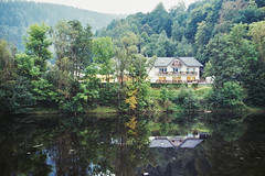Riverbank (diseeease) Tags: porst uniflex 1000s analog film filmsnotdead ishootfilm pentacon river bank house forest trees bäume