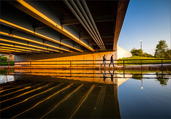 From Under the Bridge (47408) (Kurt Kramer) Tags: humboldtpark goldenhour dusk bridge structure beams reflection reflections leadinglines water lagoon chicago cityscape