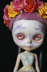 Primavera (Kittytoes) Tags: melancholykitties calavera diadelosmuertos dayofthedead sugar skull blythe custom katcaro pastel