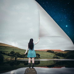 I watched the dark blue sky... (AmyFaithPhoto) Tags: conceptual painterly girl long hair dress blue sky night stars midnight star lake hills water wellies poetic reaching turning page amy faith photography edited