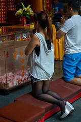 On her knees (Christophe-la) Tags: tainan taiwan girl her knee praying asian asians stockings kneeling knees