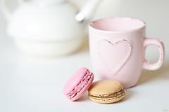 Sweet tea (eleni m (trying to catch up)) Tags: indoor mug teapot macarons sweet hk heart dof cookies food pink white macro