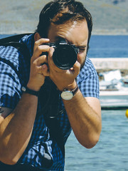 Me with my trusty old OM-D (Spyros Gialelis) Tags: adventure blue greece olympusem10 outdoor sea spring exploration fade film galaxidi me nice omd photoshooting self selfie selfportrait shirt