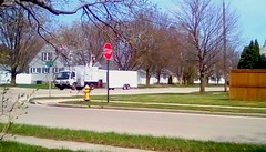 Truck and trailer - HTT! (Maenette1) Tags: truck trailer white street houses trees grass fence stopsign firehydrant menominee uppermichigan happytruckthursday flickr365 52weeksofphotographyweek20
