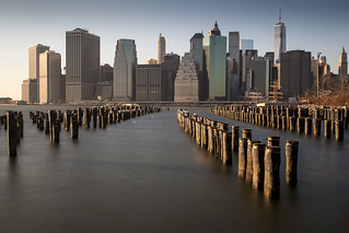 Manhatten skyline seen from Brooklyn Bridge Park in New York, USA