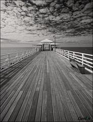 Shorncliffe Pier, Queensland (Lyndon (NZ)) Tags: 2017 monochrome pier brisbane leadinglines cloud blackandwhite australia gimp architecture