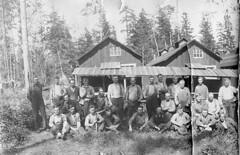2017.034.001A - Group of Loggers at Camp 2, Comox Logging Co. (Cumberland Museum) Tags: comoxlakeloggingcamp camp2 campno2 comoxloggingco merville harding morall mckenzie baikie myres sheperd grieves braker hiquebrand cumberlandmuseum comoxvalley vancouverisland britishcolumbia logging