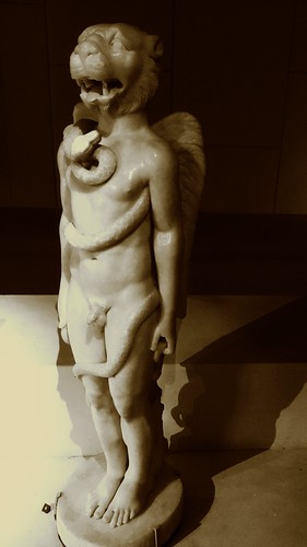 Mithraism....Lion-headed figure from the Sidon Mithraeum. Dedicated 500 CE by Flavius Gerontios (CIMRM 78 & 79), now at the Louvre... the souls are elicited in flames by the caduceus